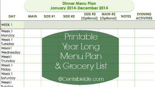 Printable Menu Plan 2014