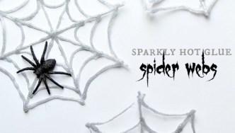 DIY Hot Glue Glitter Spider Webs for Halloween