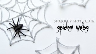 DIY Hot Glue Glitter Spider Webs for Halloween
