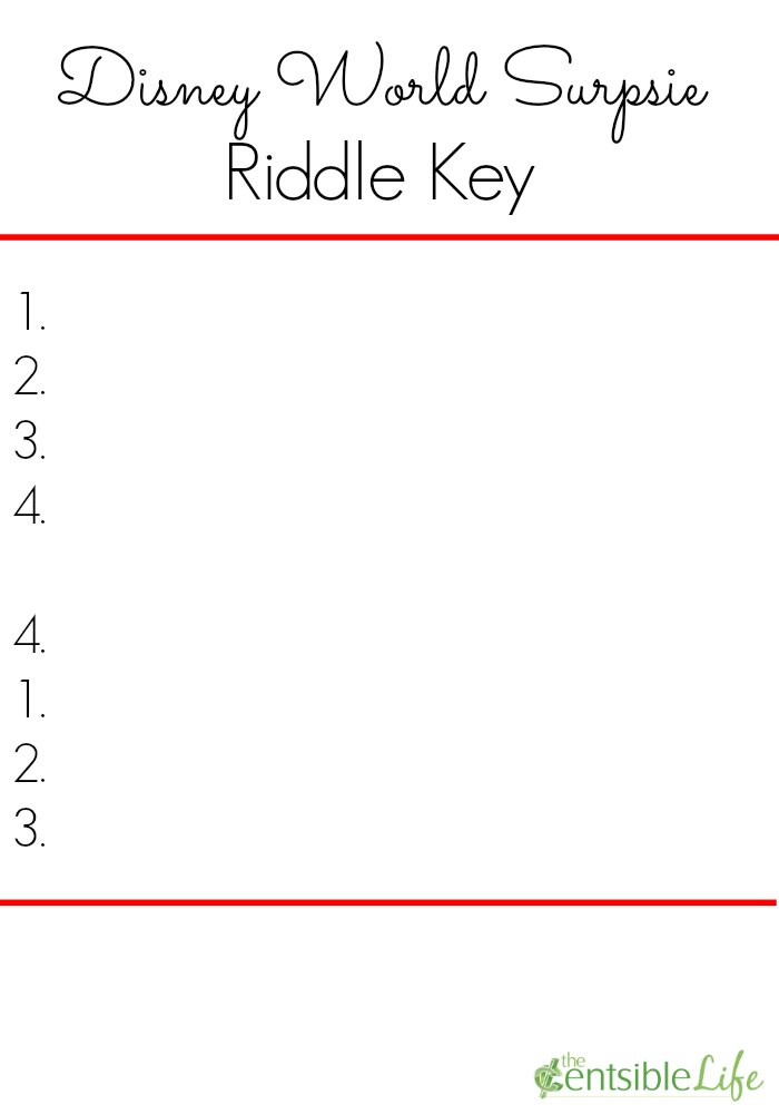 Disney World Surprise Riddle Key Blank