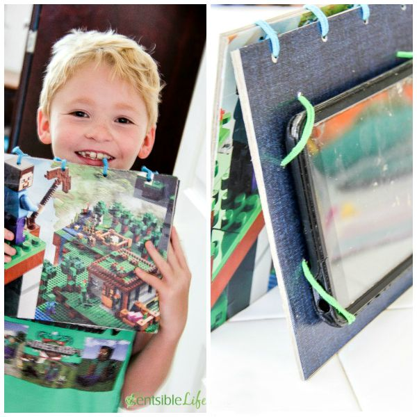 How to make a DIY Minecraft Lego iPad stand and cover for kids
