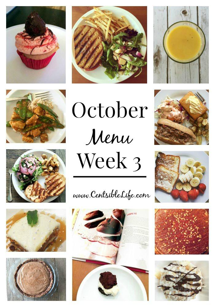 October Menu Plan Week 3