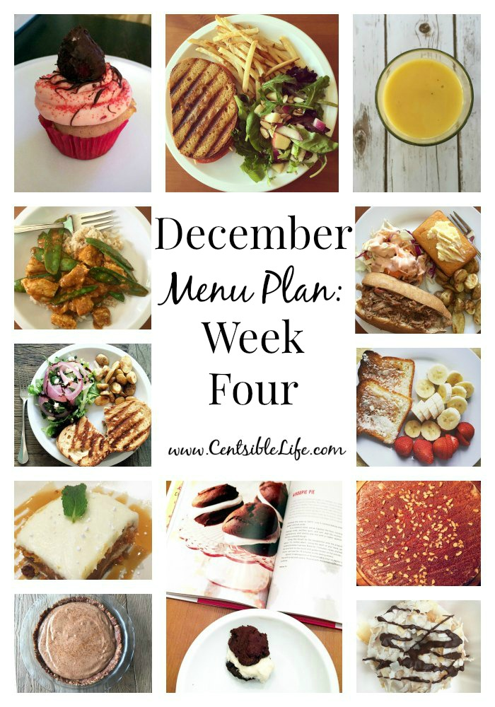 December Menu Plan Week Four
