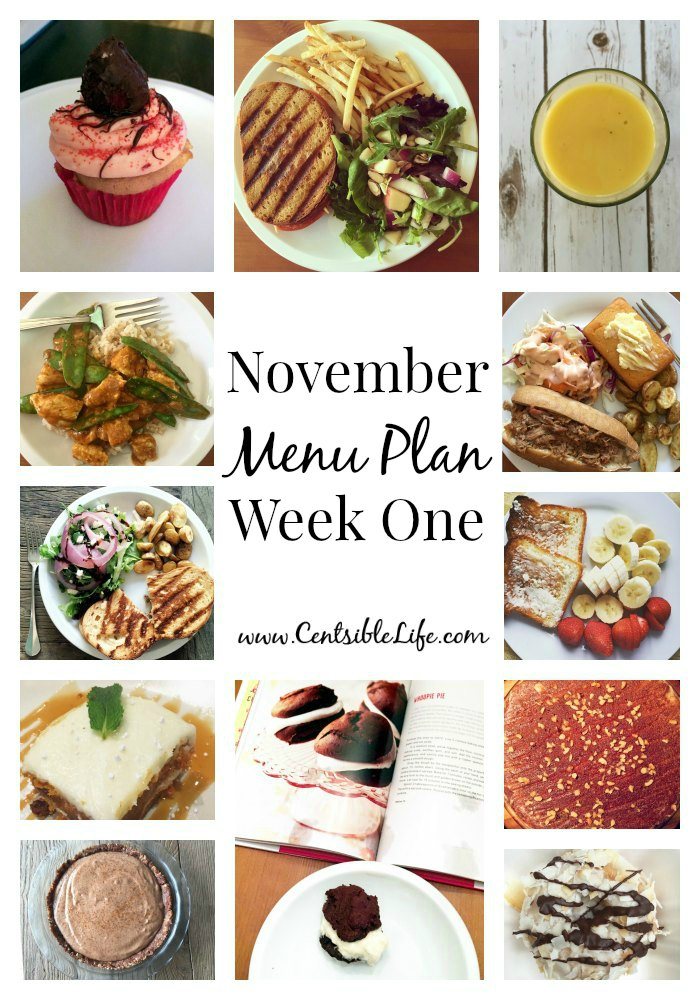November Menu Plan Week One