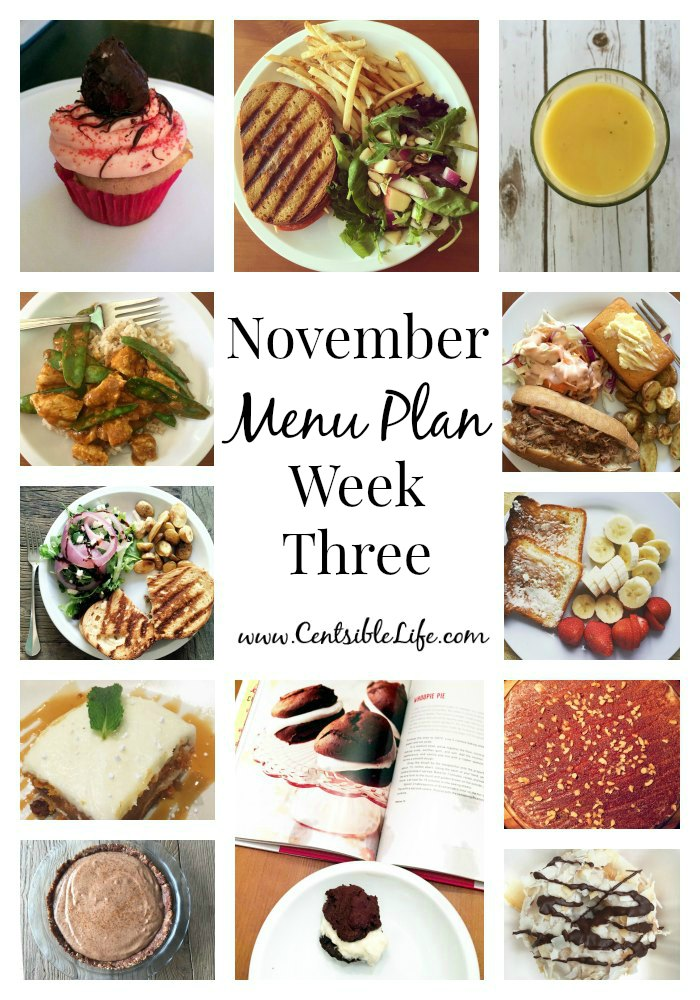 November Menu Plan Week Three