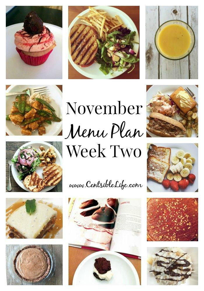 November Menu Plan Week Two