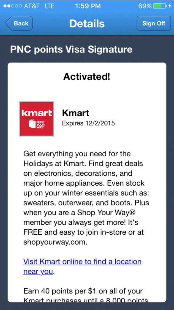 PNC Points Kmart Offer