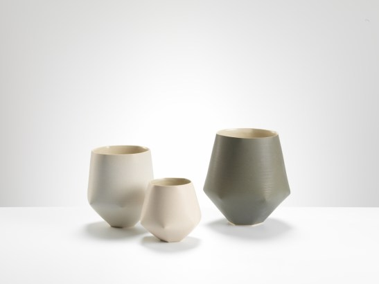 Sun Kim, Folded vases, High fired stoneware, 2016