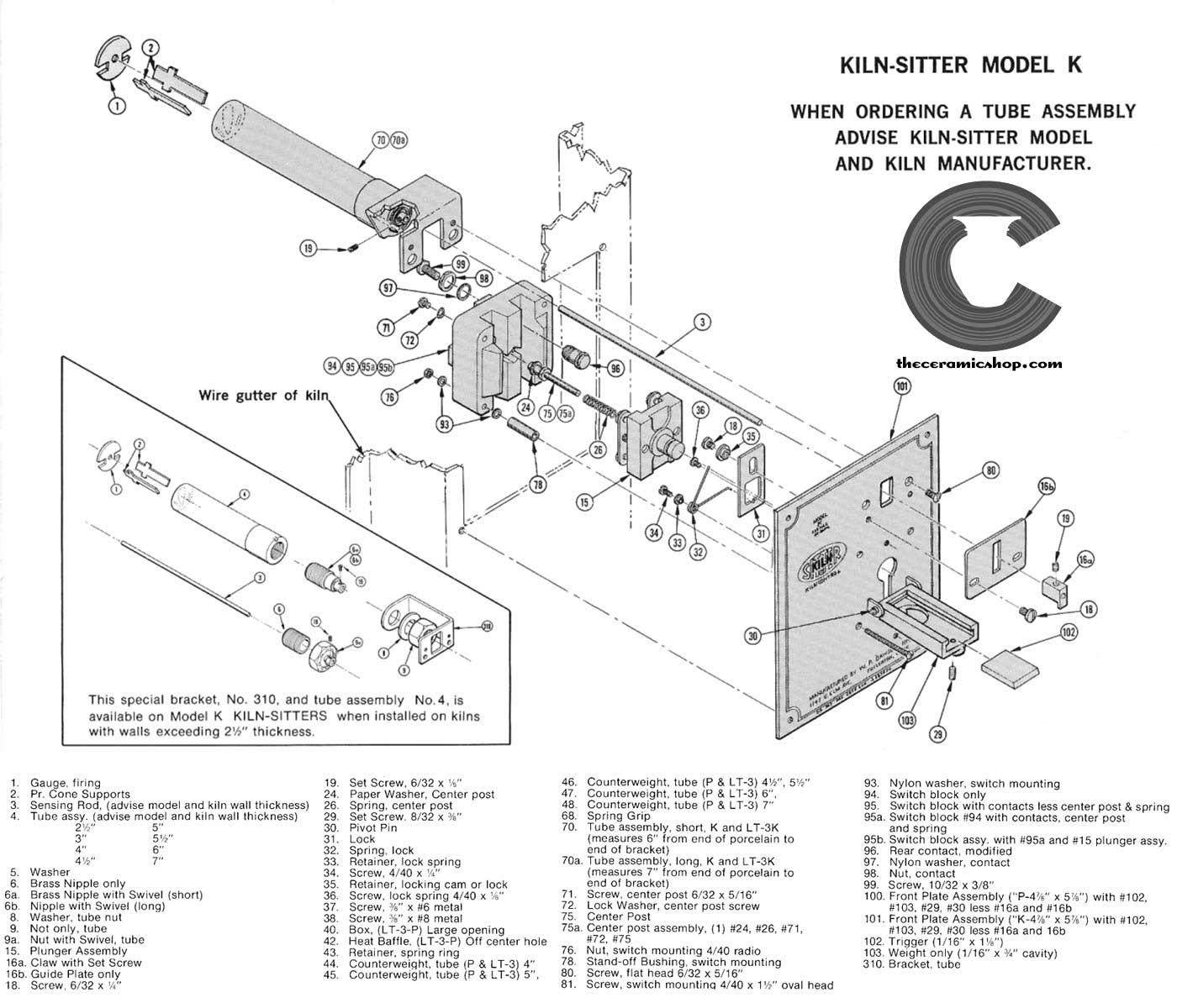 duncan kiln wiring diagram 97 grand marquis fuse sitter parts the ceramic shop part replacement list