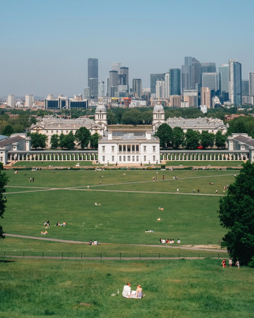 Overlooking the london skyline from Greenwich park near the observatory