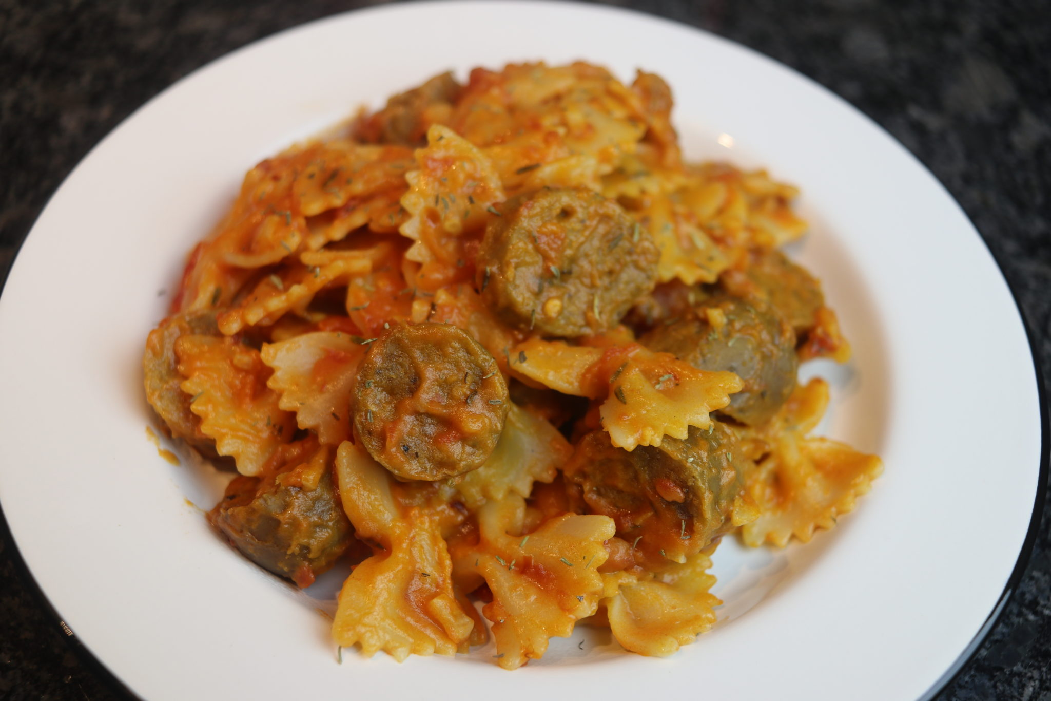 Creamy tomato pasta with vegan sausage comfort recipe cheap watch the video above or see below for the written recipe and ingredients forumfinder Choice Image