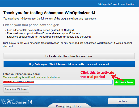 Ashampoo WinOptimizer trial limitation activated