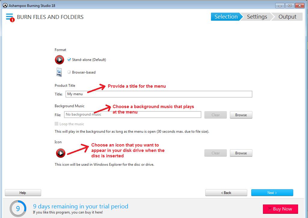 Ashampoo Burning Studio burndata menudetails