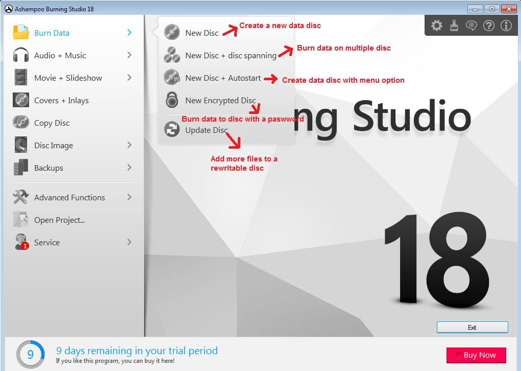 Ashampoo Burning Studio burndata