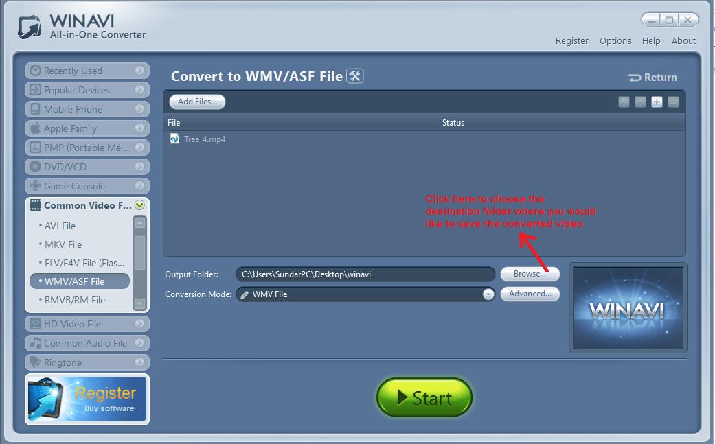 winavi all in one converter outputfolder