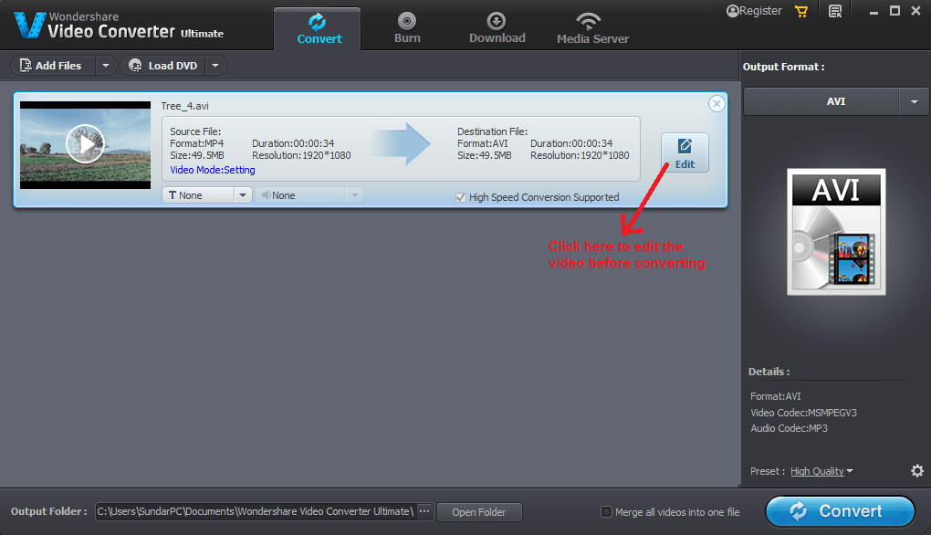 wondershare video converter convert edit