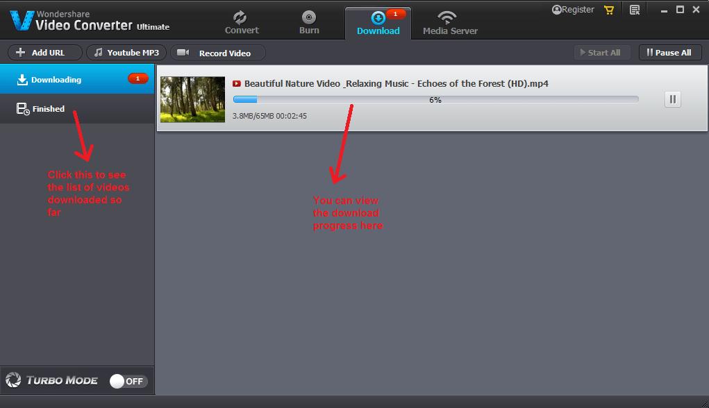 wondershare video converter download progress
