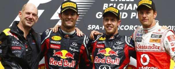 Left to Right: Adrian Newey, Mark Webber (2nd), Sebastian Vettel (Winner), Jenson Button (3rd) - Photo Credit: Pirelli