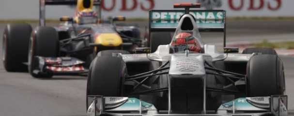 Schumacher was running second ahead of Mark Webber at one point, although DRS eventually allowed the Red Bull driver, and Jenson Button, to get past - Photo Credit: Mercedes GP