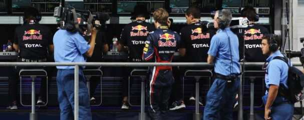 Vettel joined his team on the pit wall after early elimination from the Abu Dhabi Grand Prix - Photo Credit: Ker Robertson/Getty Images