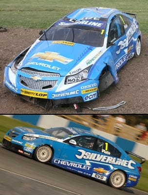 Jason Plato's Chevrolet before and after, Donington Park (Photo Credits: top - Jones/Ebrey via btcc.net; bottom - Chris Gurton Photography)