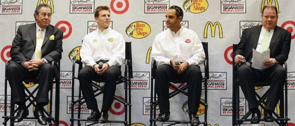 Felix Sabates, Jamie McMurray, Juan Pablo Montoya, and Chip Ganassi - Credit: Credit: Jared C. Tilton/Getty Images for NASCAR