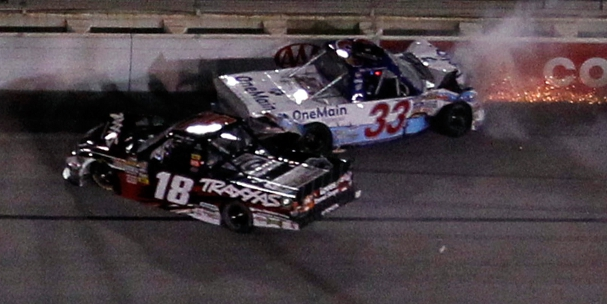 Kyle Busch and Ron Hornaday crash  (Photo Credit: Tom Pennington/Getty Images for NASCAR)