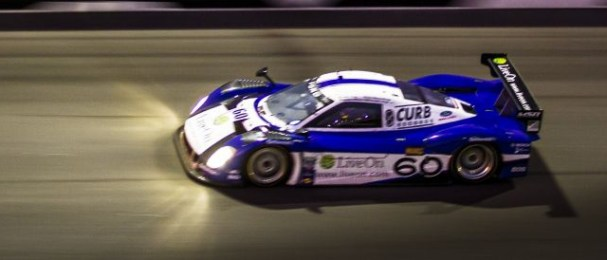 The Rolex 24 at Daytona winning Riley-Ford powers around the banking (Photo Credit: Rolex/Stephan Cooper)
