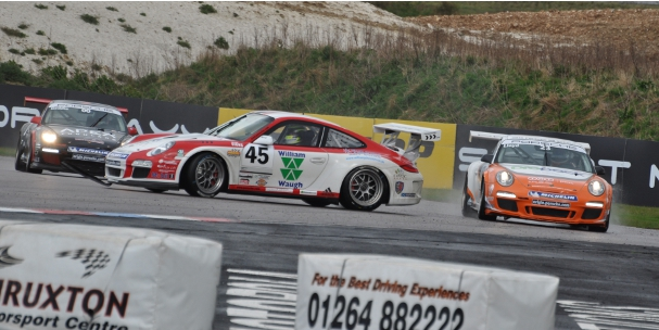 Rory Butcher spins from the lead, Thruxton 2012 (Photo Credit: Stuart Paice)