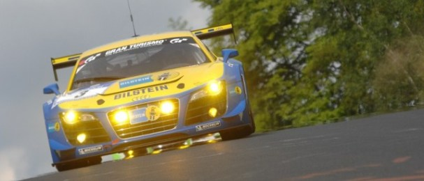 Lights ablaze the no.3 Audi R8 LMS ultra heads for Nurburgring victory (Photo Credit: Chris Gurton Photography)