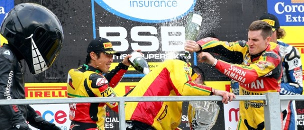 Tommy Hill celebrates his race one victory - Photo Credit: Impact Images
