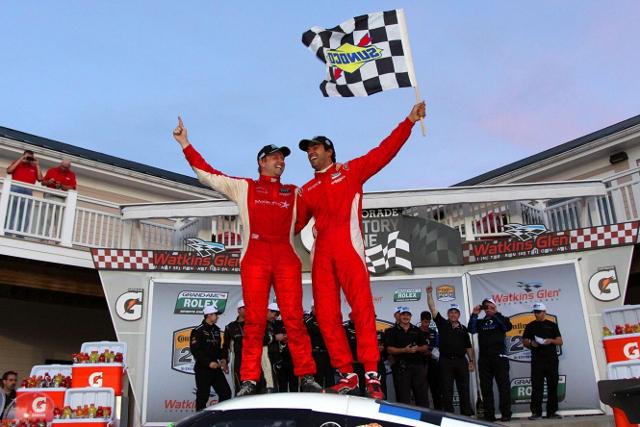 Dalziel and Luhr celebrate Watkins Glen victory (Photo Credit: Grand-Am)