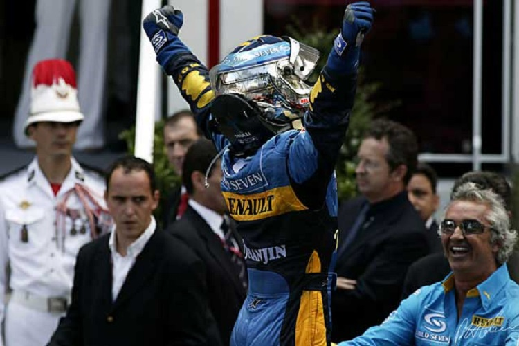 Jarno Trulli celebrates after taking his first F1 victory (Credit: The Cahier Archive)
