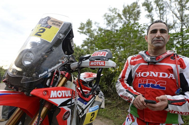 Paulo Gonçalves took the stage win and overall lead - Credit: Honda Racing Corporation