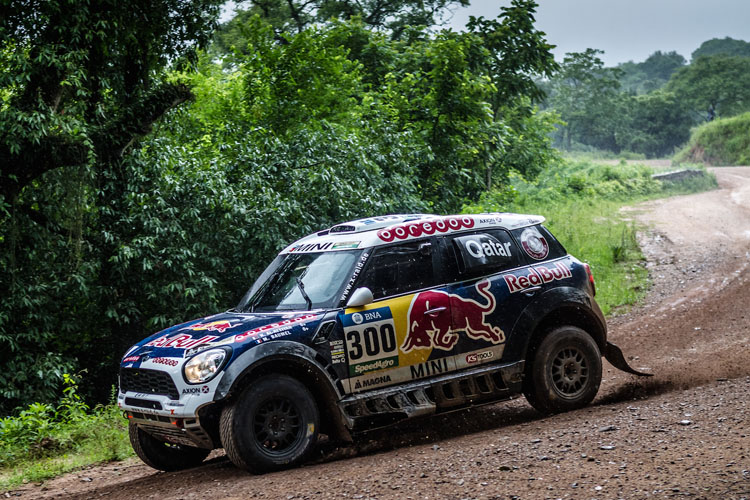 Nasser Al-Attiyah is currently third overall as he put in another consistent performance - Credit: Mini