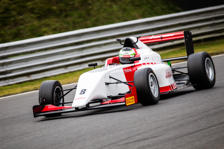 A BRDC Formula 4 car on track at Snetterton.