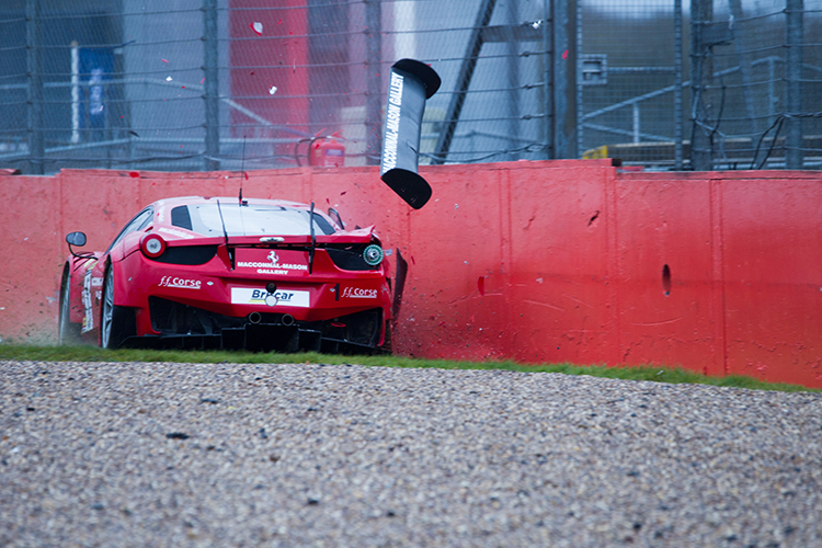 A rare error from Calum Lockie caused significant damage to a new 458 GT3. (Credit: Nick Smith/TheImageTeam.com)