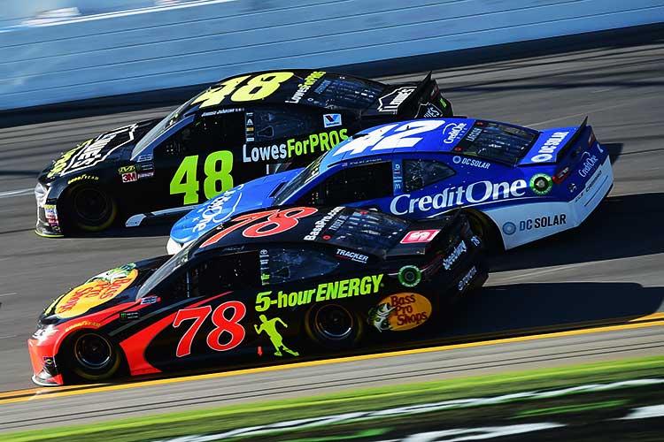 Jimmie Johnson, Kyle Larson and Martin Truex Jr. at the 2018 Daytona 500
