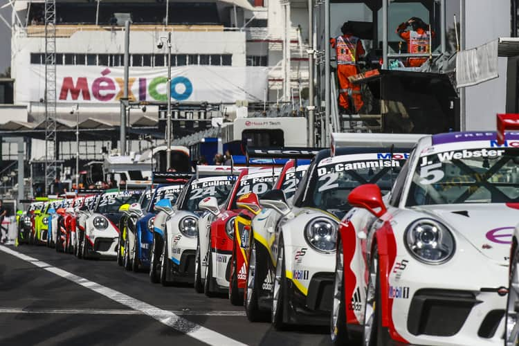 Porsche Mobil 1 Supercup grid waiting to go out on track