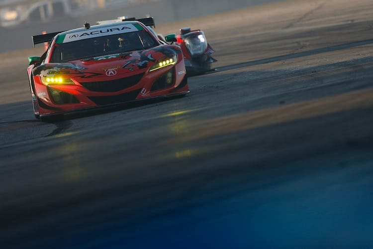 Lawson Aschenbach holds the lead in GT Daytona for Michael Shank Racing