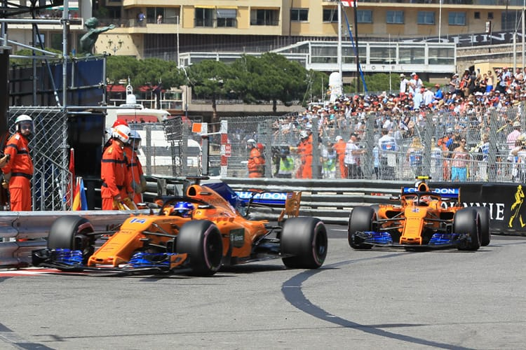 McLarens drive through Monaco