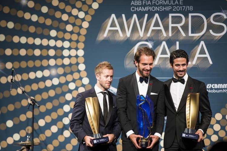 Jean_eric Vergne (Centre); Sam Bird (left) and Lucas Di Grassi (right)
