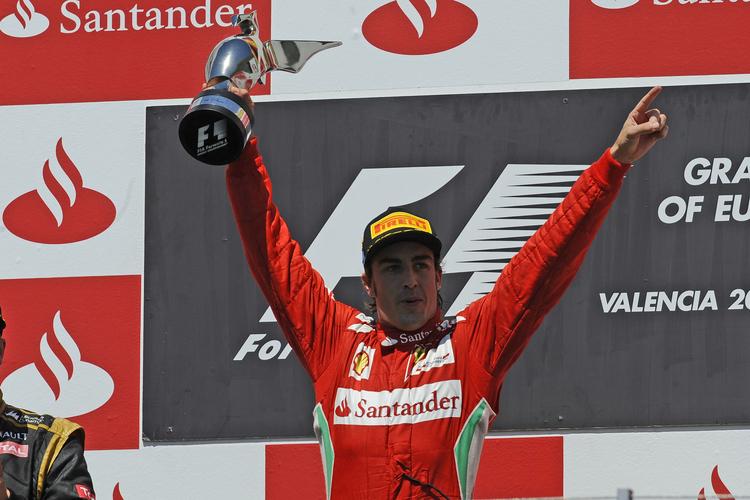 Fernando Alonso celebrates victory at the 2012 European Grand Prix
