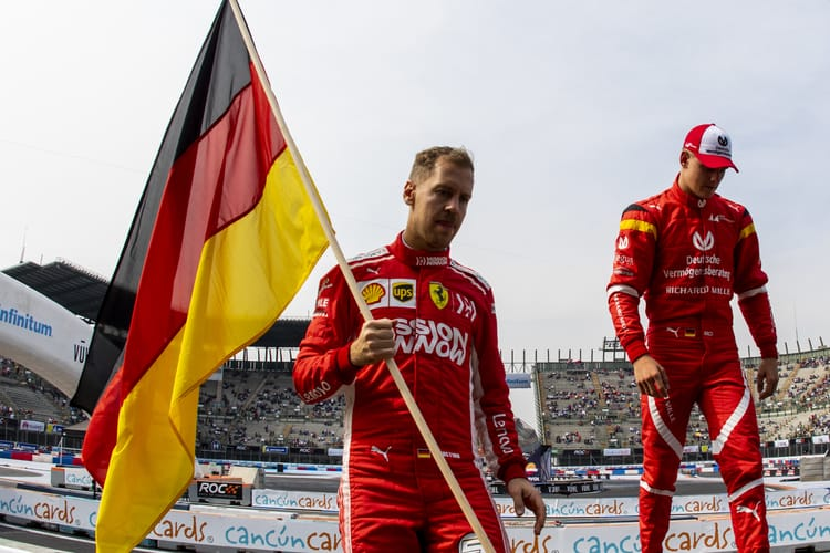 Sebastian Vettel (GER) and Mick Schumacher (GER) of Team Germany arrive before the ROC Nations Cup on Saturday 19 January 2019 at Foro Sol, Mexico City, Mexico.