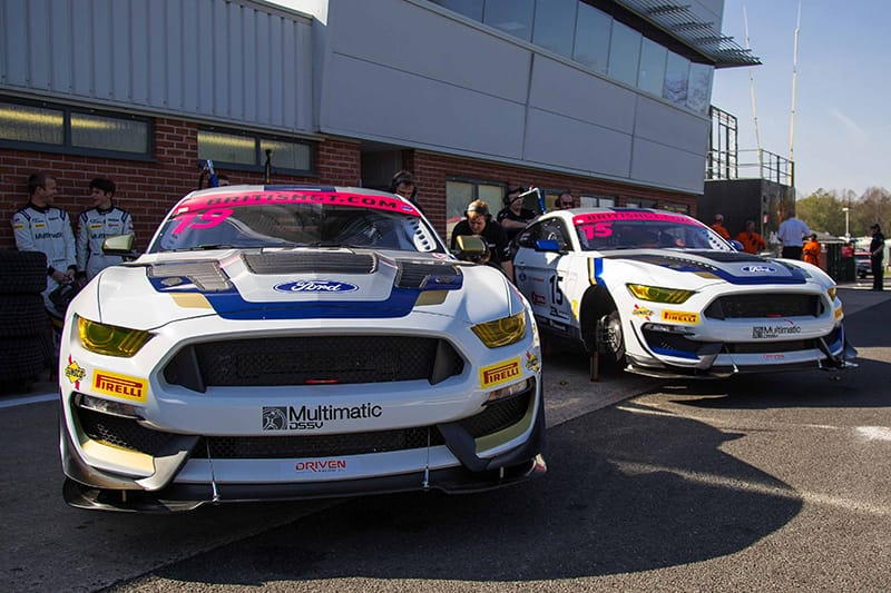 Multimatic Motorsport's two Mustang GT4 race cars in British GT.