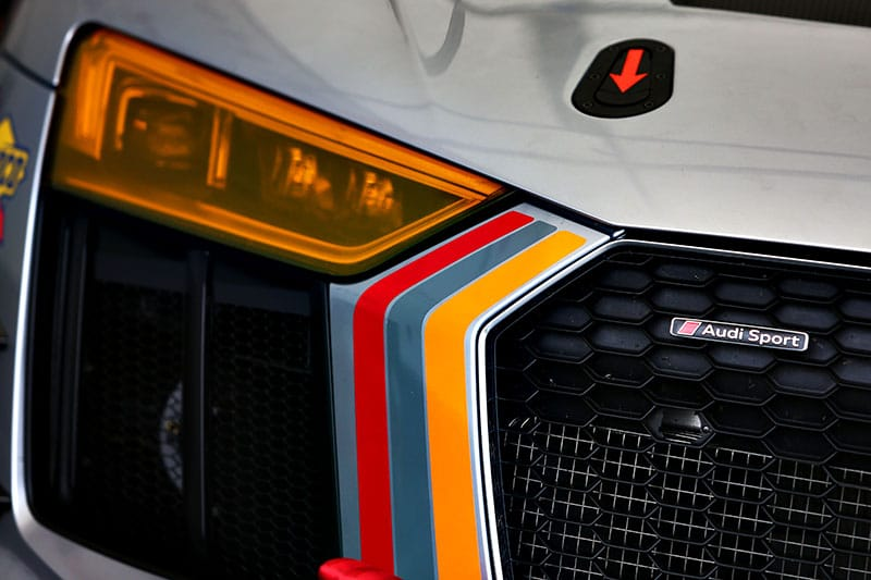 The headlights of the Audi R8 LMS GT4