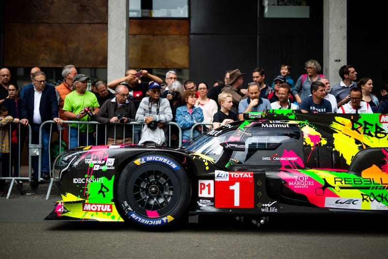 The #1 Rebellion Racing Rocketbyz Tomyboy livery for the 2019 24 Hours of Le Mans