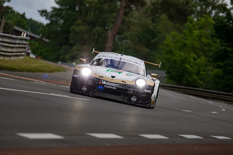 Michael Christensen stole provisional pole in GTE Pro in the closing stages of the session.