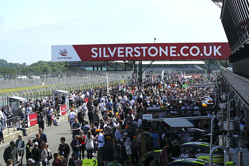 The British GT Fans enjoying a pit walk at Silverstone.