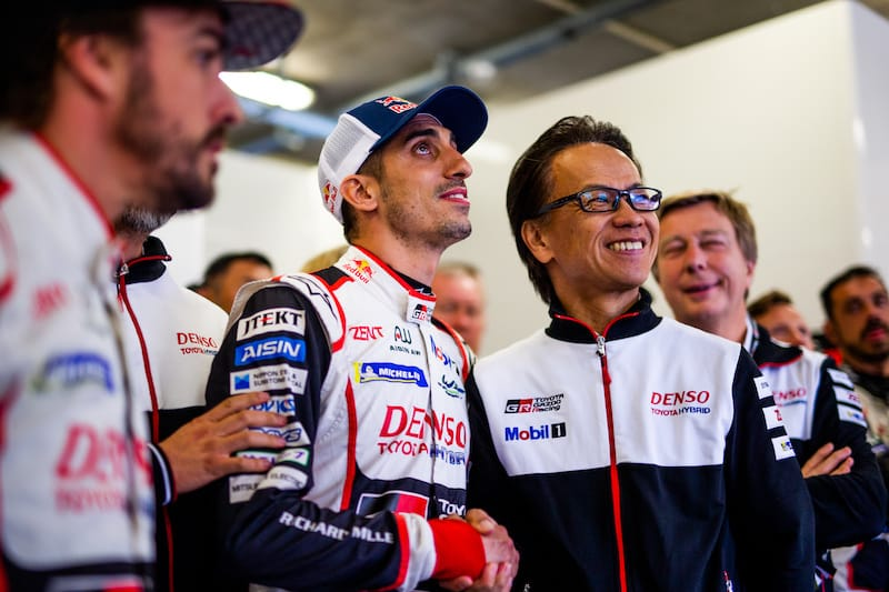 Sebastien Buemi, celebrating with Toyota Gazoo Racing, his Le Mans victory and Championship win - could this happen next year or will the Swiss driver chose Formula E?